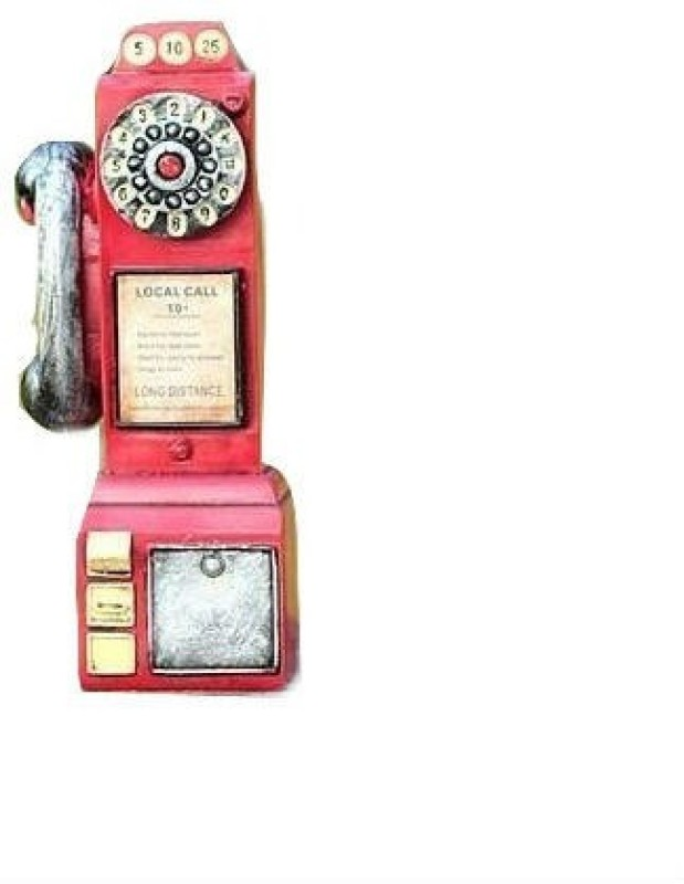 Shrih Retro Antique Decorative Telephone Booth With Money Piggy Coin Bank(Red)