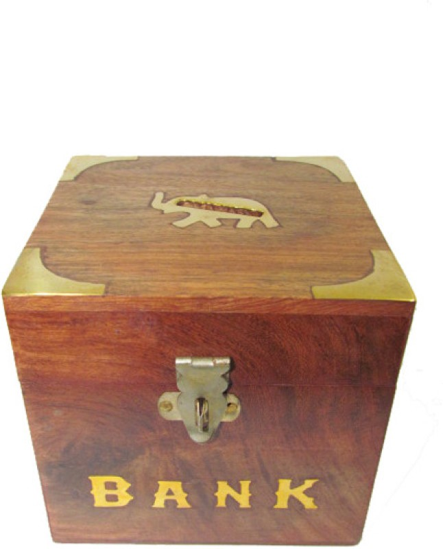 S C Handicrafts SCHCB14 Coin Bank(Brown, Brass)