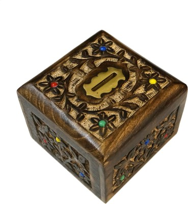 R S Jewels Handmade Wooden Carved Flora Designs Coin Bank