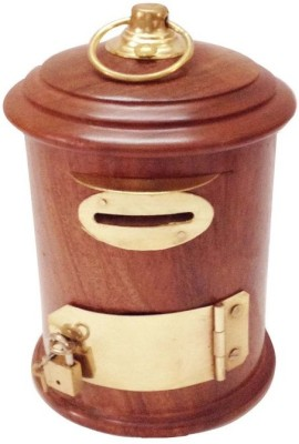 Craft Art India Handcrafted Wooden Money Box / Gulak in Letter box Shape Coin Bank