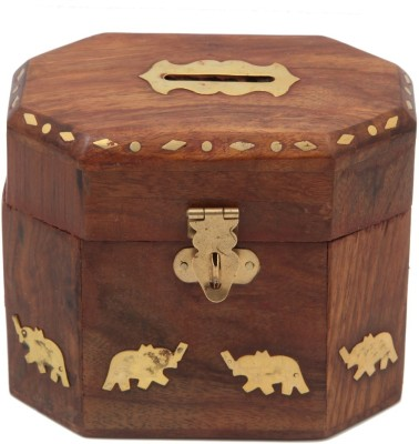 JaipurCrafts Decorative Elephant Coin Bank(Brown, Gold)