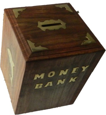 limra handicrafts wooden squre doloin Coin Bank