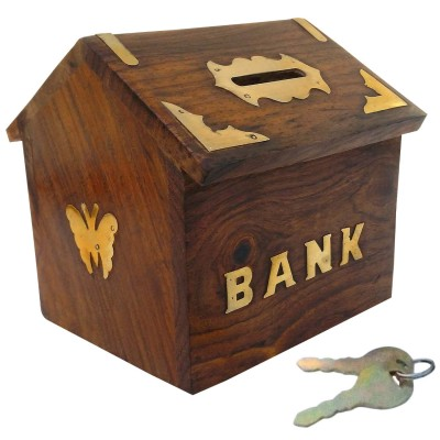 limra handicrafts wooden butterfly hut Coin Bank