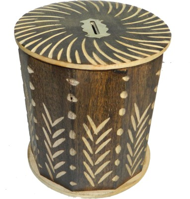 limra handicrafts wooden cutter round Coin Bank