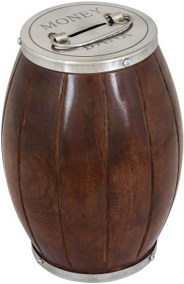 Craft Art India Wooden Handmade Brown Money Box With Silver Color Metal Cap Coin Bank