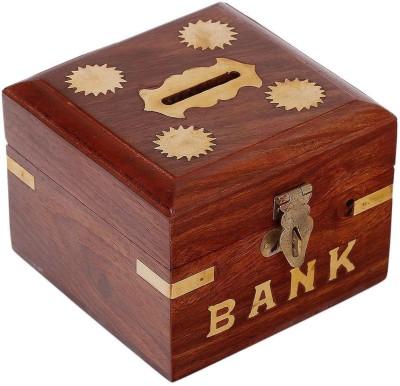 Craft Art India Brown Handmade Wooden Square Money Bank / Piggy Bank / Coin Box Coin Bank