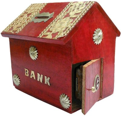 Worthy Shoppee Red Wooden Hut Coin Bank Coin Bank(Red)