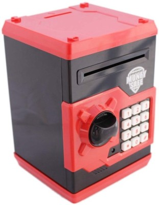 Lotus Money Safe Electronic Locker Coin & Note Bank Coin Bank(Red, Black)
