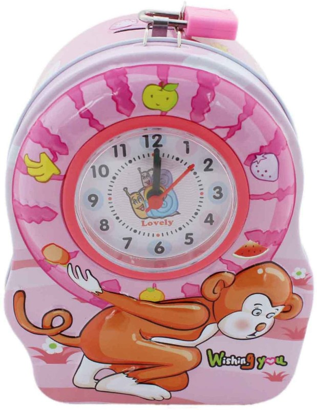 Tootpado Monkey Design Piggy Bank With Clock (1j290) - Made of Metal Coin Bank