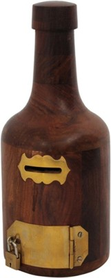 Mayur enterprises Bottle Shape Wooden Money Bank Coin Bank