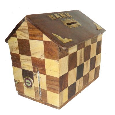 limra handicrafts wooden chess hut Coin Bank