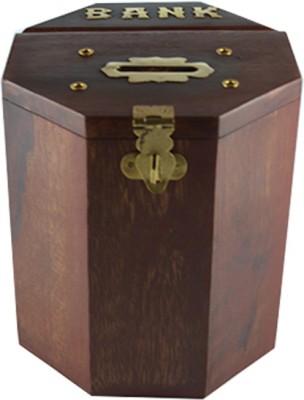 Craftuno Handcrafted Octagonal Wooden Money Bank Coin Bank