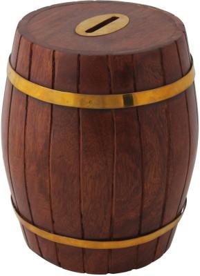 Craft Art India Handcrafted Wooden Barrel Shape Money Box Coin Bank