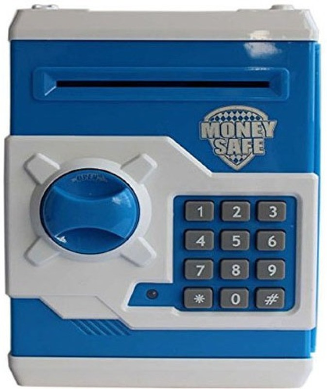 Suvesa Kids Safe Bank- Blue & White Coin Bank(Blue)
