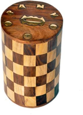 Woodpedlar Sheesam Wood Handicraft Cylinder Shaped Tredy Children Piggy Money Coin Bank