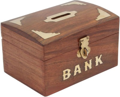 Craft Art India Brown Handmade Wooden Rectangular Money Box Coin Bank(Brown)