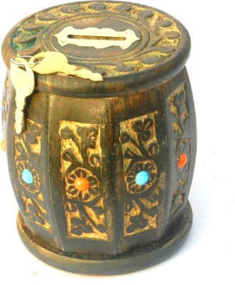 Aakashi Wooden Carved Drum Shape Money Bank Coin Bank