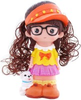 Tootpado Cute Doll With Dog 1j199 Toy Piggy Kiddy Money For Kids Coin Bank(Yellow) best price on Flipkart @ Rs. 519