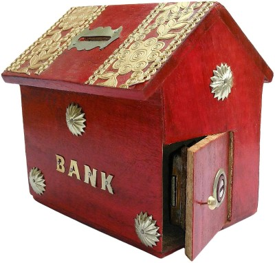 limra handicrafts red wooden hut Coin Bank