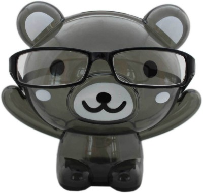 Tootpado Bear Shape Eye Glasses Stand With Piggy Transparent Money Savings Kiddy Toy Coin Bank