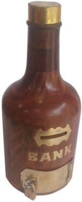 Asma Collection Woodkartindia Bottle Design Coin Bank