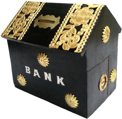 Craftatoz Hut Shape Black Money Coin Bank