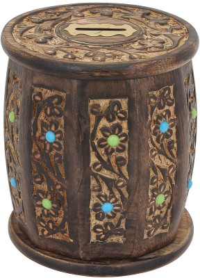 Craft Art India Handcrafted Wooden Money Box In Barrel Shape With Beautiful Carving Coin Bank