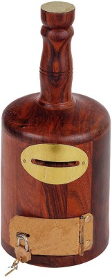 Craft Art India Brown Wooden Handcrafted Bottle Shaped Money Bank Cum Coin Box Coin Bank