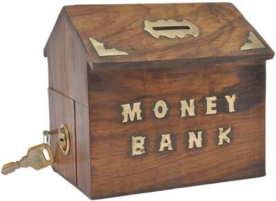 Craftatoz sheesham hut shape money bank Coin Bank