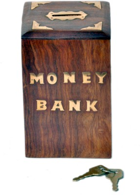 Woodpedlar Sheesam Wood Handicraft Rectangle ShapedTredy Children Piggy Money Coin Bank(Brown)