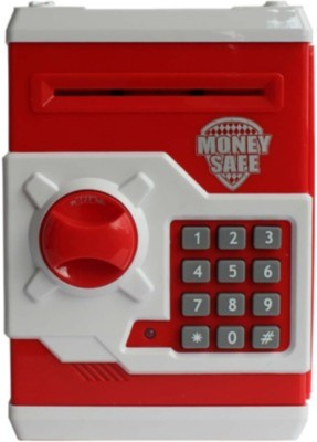 Tara Lifestyle Money Safe Atm Machine-Red Coin Bank