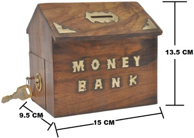 THW Beautiful Vintage Traditional Wooden Money Box Coin Bank