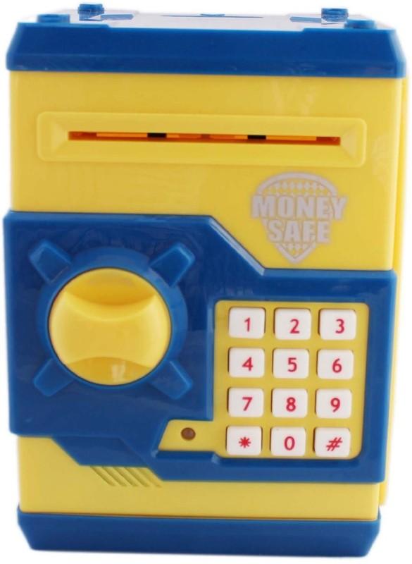 Shop & Shoppee Money Safe Password Piggy Kid's Savings Coin Bank(Blue, Yellow)