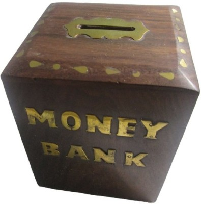 Mayur enterprises Brown Wooden Handicraft Money Bank Box Coin Bank