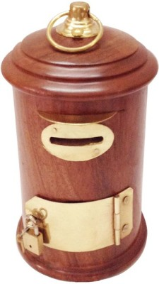 Craft Art India Brown Handcrafted Wooden Money Box / Gulak in Letter box Shape Coin Bank