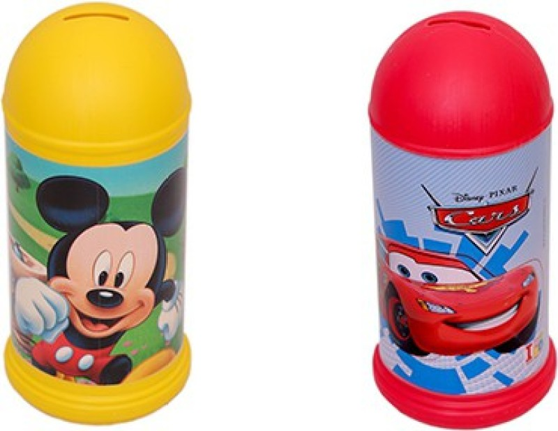 Disney Set of Mickey and Pixar Cars Coin Bank(Multicolor)