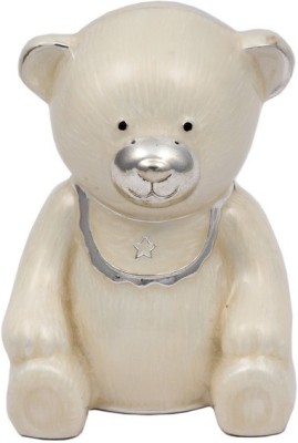 JewelandGifts Designer Mother of Pearl Silver Plated Bear Shaped Coin Bank