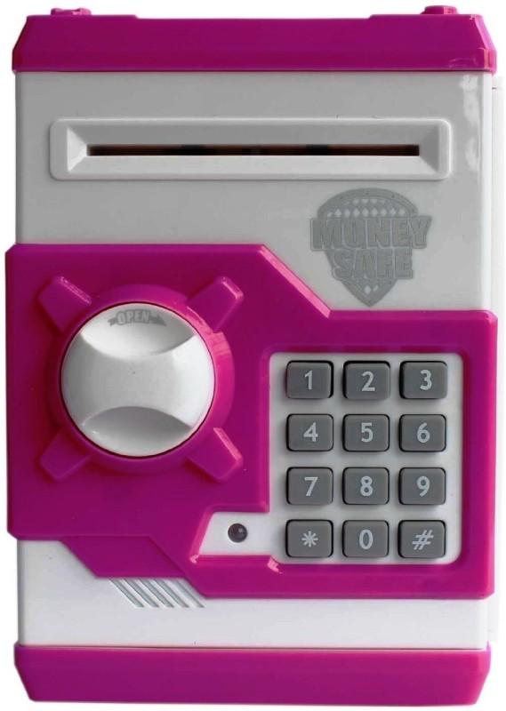 Shop & Shoppee Money Safe Password Piggy Kiddy Savings Coin Bank(Pink, White)