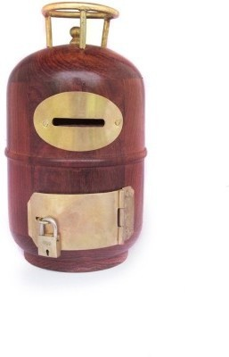 limra handicrafts wooden cylinder Coin Bank