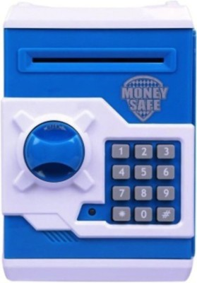 MoneySafe ATM Electronic Money with Instruction Manual Coin Bank(White, Blue)