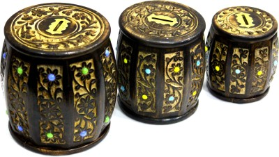Aakashi Wooden Carving 3-pc Drum Money Coin Bank(Brown)