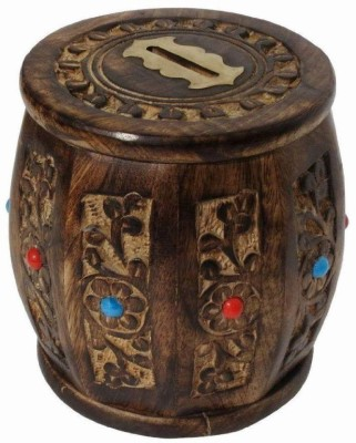 Worthy Shoppee wooden carving dholak Coin Bank Coin Bank(Brown)