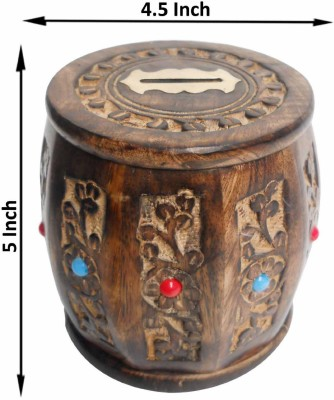 limra handicrafts wooden carving dholak Coin Bank