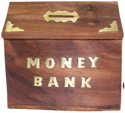 ANTIQUA V GROUP wooden money box Coin Bank