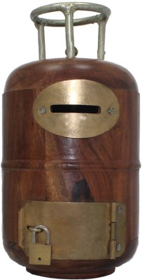 Desi Karigar wooden cylinder Coin Bank