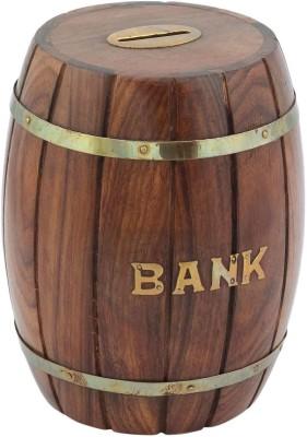 Woodpedlar Wooden Handicraft dholak ShapedTredy Children Piggy Money Coin Bank
