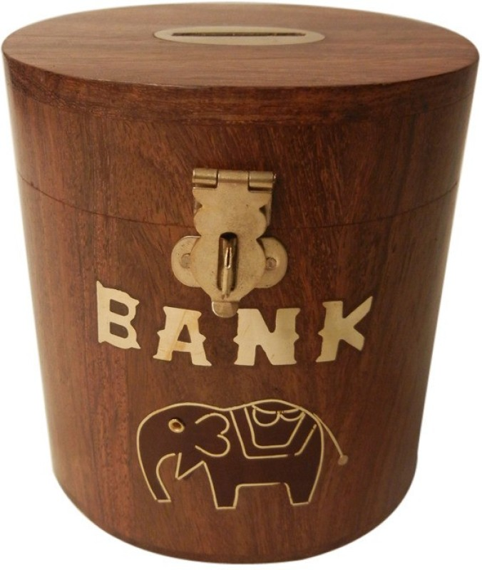 TimberKart Wooden Money Box Oval Decorative Handicraft Gift item Coin Bank(Brown)