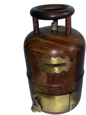 JaipurCrafts Cylinder Shaped Decorative Coin Bank(Brown)