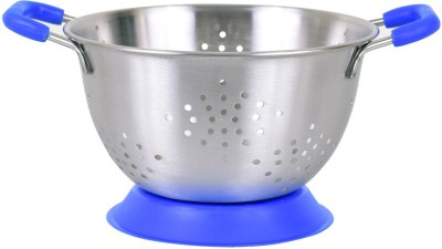 Montstar Deep Colander with Anti Skid Base & Plastic coated handles- 20cm (Blue) Colander