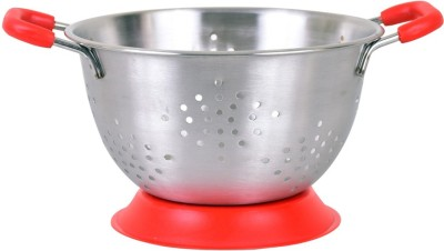 Montstar Deep Colander with Anti Skid Base & Plastic coated handles- 25cm(RED) Colander